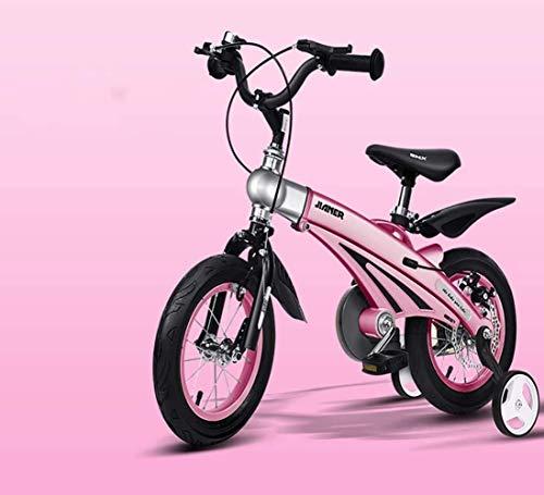 LSZ 12 14 16 Pulgadas Freestyle Pedal de niños Bicicleta con Ruedas de Entrenamiento Rueda Inflable Aleación de magnesio Aleación de magnesio niña Bicicleta para niños (Color : Pink, Size : 12)