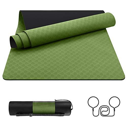 EgoIggo Tapis de Yoga Mat en TPE Matériaux Tapis de Sport Sol Antiderapant Ecologique avec Sac de Transport pour Fitness Pilates Gym 181x61cm, 6mm