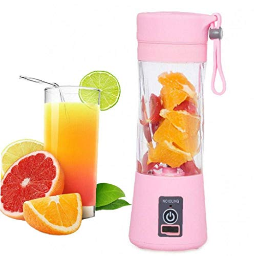 Naisicatar 380ml Beweglicher Juicer Mini Frullatore Personal Blender Portable Juicer Cup Mit 3D-6 Blades (pink)