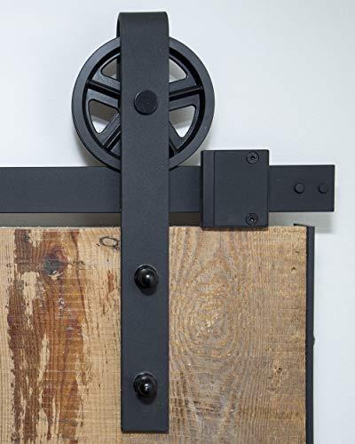 Schiebetürsystem Speichenrad 200 cm - komplettes Set mit Laufrollen und Schiene - 2 Meter Schiebetürsystem Speichenrad - Spoke wheel black