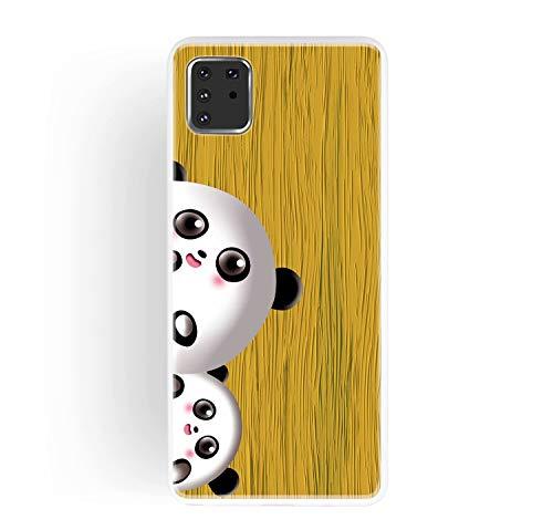 Miagon Holz Korn Hülle für Samsung Galaxy Note 10 Lite,Ultra Dünn Weiche Silikon Handyhülle Cover Stoßfest Schutzhülle mit Schöne Süß Panda Muster,Gelb