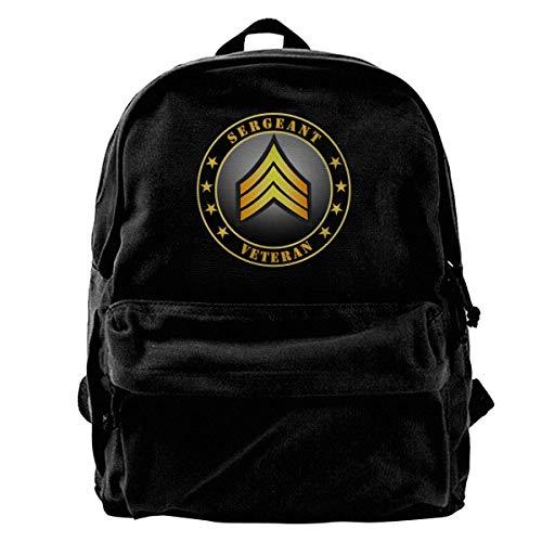 Sargento del Ejército Veterano Bolso de Hombro de Lona Unisex Vintage Mochila de Viaje Mochilas Escolares