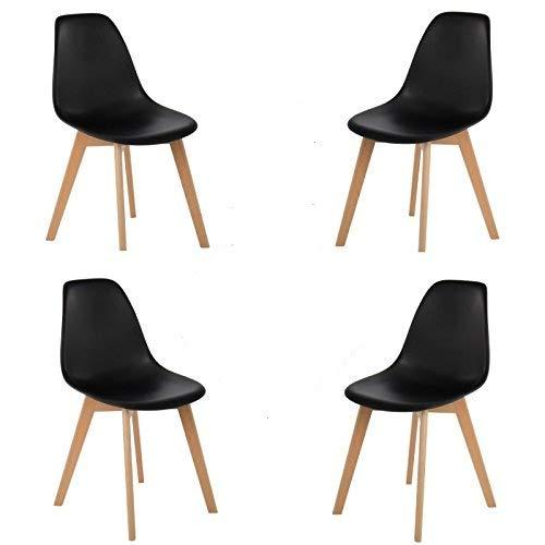 Comfortableplus Set di 4 sedie da Pranzo Stile Mid Century Moderno Stile Nordico con Gambe in Legno massello, Ideale per Soggiorno, Sala da Pranzo, caffè, ect (Nero)