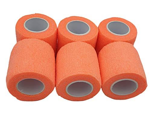 PintoMed - 6 x pomarańczowy - spójny bandaż rozciągnięty 6 rolek x 5 cm x 4,5 m samoprzylepne elastyczne bandaże, bandaże sportowe pierwszej pomocy - opakowanie 6 szt.