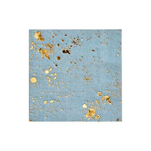 Harlow & Grey Malibu Blue with Gold Splash Cocktail Paper Napkins, Pack of 20 - Birthday, Wedding, Showers Party Napkins