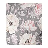Golee Throw Blanket Pink Flowers and Leaves on Gray Watercolor Floral Pattern Rose 50x60 Inches Warm Fuzzy Soft Blanket for Bed Sofa