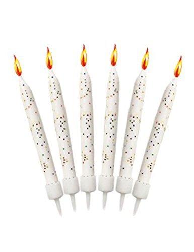 Bougies anniversaire blanches pailletées (x12)