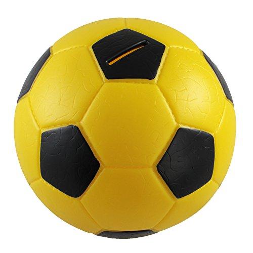 HMF 4790-17 Spardose Fußball Lederoptik 15 cm Durchmesser, schwarz gelb