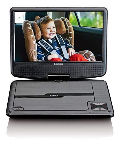 Lenco DVP-901BK 9 Zoll (22,5cm) DVD-Player mit Bildschirm,C 12V Fahrzeugadapter und Fernbedienung Schwarz