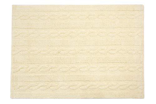 Lorena Canals Tresses Lavable Tapis, Coton, Vanille, 120 x 160 x 30 cm