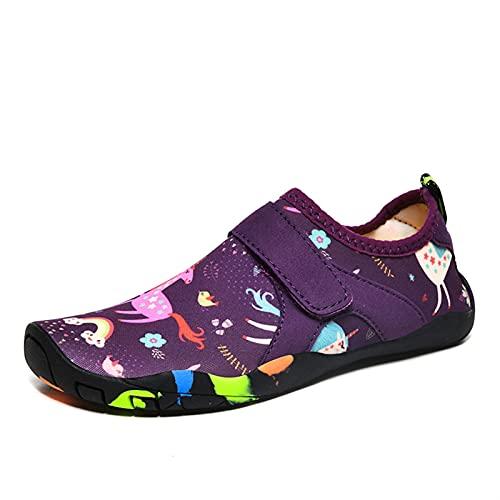 SHENGWEI Zapatos de agua para buceo, esnórquel, natación, zapatos de playa para niños, para playa, correr, esnórquel, surf, buceo, yoga, ejercicio (color: morado, tamaño: 31)