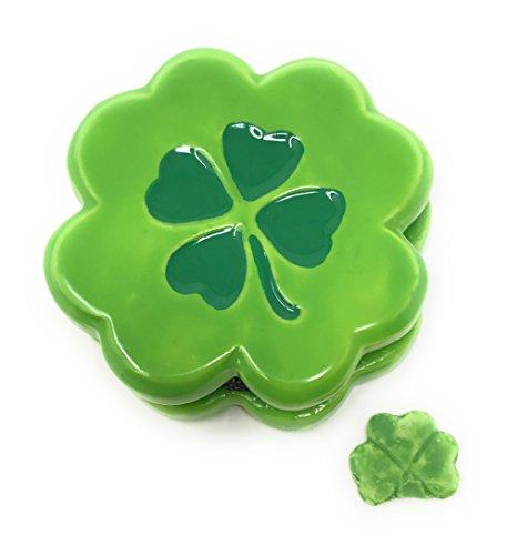 Lucky 4 Leaf Clover Shamrock Porcelain Trinket Box With Tiny Trinket Inside