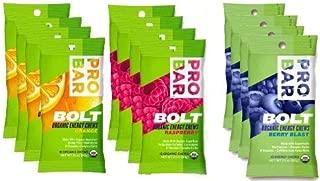 Probar Bolt Organic Energy Chews Set Mixed Berry, Orange and Raspberry - Four of Each Flavor, Box of 12