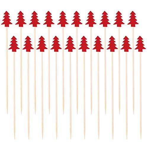 DOITOOL Kerstboom Cocktailprikker Kerst Bamboe Cocktailprikkers Voorgerecht Tandenstokers Cocktail Fruit Tandenstokers…