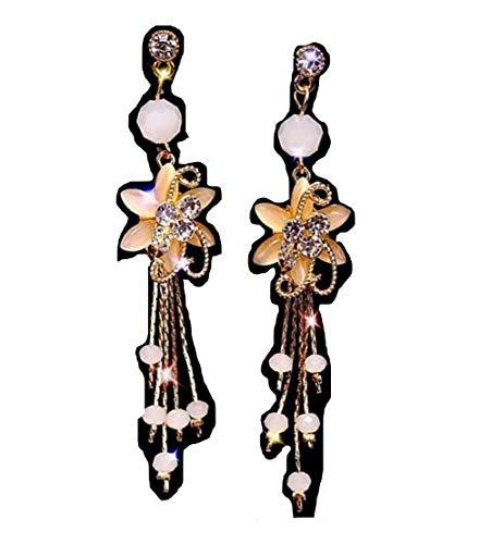 S925 Orecchini in nappa con perline bianche con ago d'argento, set di orecchini con nappa da donna, orecchini lunghi di moda.