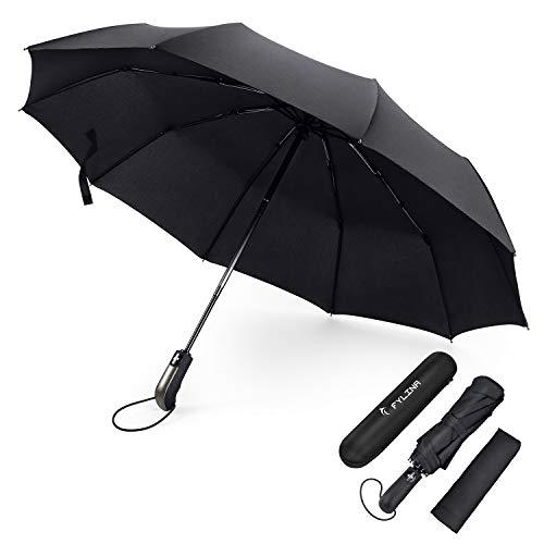 FYLINA Regenschirm Taschenschirm Sturmfest, Auf-Zu-Automatik 9 Edelstahl-Rippen Teflon-Beschichtung Leicht Kompakt Windsicher Stabil Transportabel Reiseschirm Geschenktüte Trockenbeutel (Schwarz)