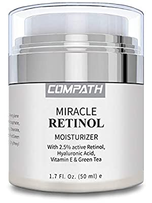 Retinol Moisturizer Cream, COMPATH Anti-aging Wrinkle Night/Day Cream for Eye and Face, Reduces Wrinkles and Fine Lines, with 2.5% Active Retinol, Hyaluronic Acid, Vitamin A C E