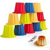 webake 12 Pz Stampi per Budino Pirottini Silicone Muffin Stampi per Gelatina Cupcake Teglia per Stampi Scatole per Torta Gelati al Cioccolato Budini, 4 Colori Arcobaleno