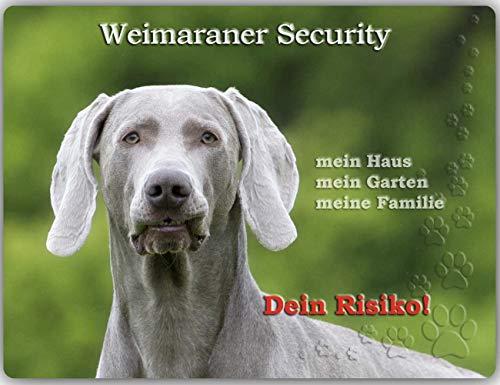 Merchandise for Fans Warnschild - Schild aus Aluminium - 20x30cm Motiv: Weimaraner Security (02)