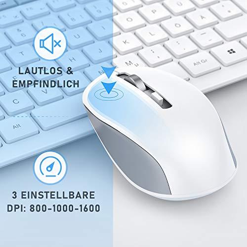 Jelly Comb Tastatur Maus Set kabellos, Kabellos Funkmaus und Tastatur mit USB Empfänger, 2.4 Ghz Funktastatur mit Maus Set für PC Desktop Notebook Laptop,14 Zusatztasten, QWERTZ-Layout, Weiß