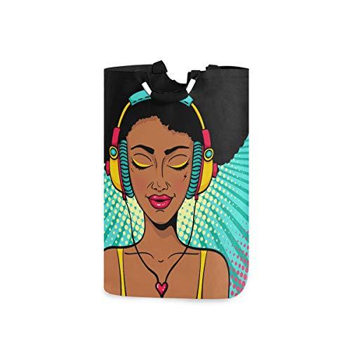 Mr.XZY Hermosa chica Auricular Cesto de lavandería Mujer África Creativo Plegable Cesto Cestas de la Universidad de Dormitorio Bolsa Sucia Ropa Papelera de Lavado para Dormitorio Baño 50L 2010159