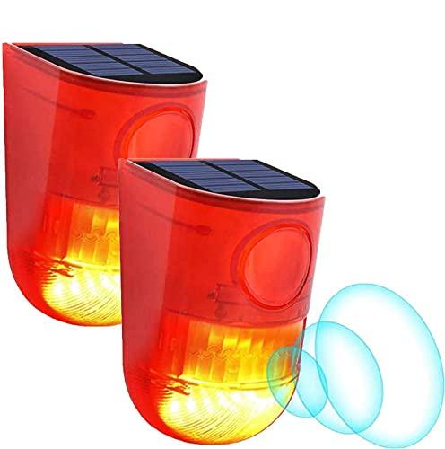 Zeerkeer Solar Alarm Licht Solar Klingen Alarm Stroboskop Blinkende Led-Licht, IP65 Wasserfest 110dB laut Sicherheit Alarmanlage für Persönliche Farm Villa Apartment Outdoor Yard Alarm/2 Stück