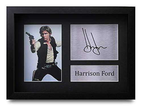 HWC Trading Harrison Ford A4 Gerahmte Signiert Gedruckt Autogramme Bild Druck-Fotoanzeige Geschenk Für Star Wars Filmfans