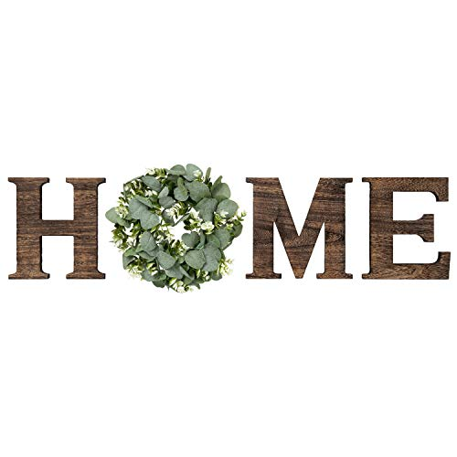Mkono Wall Hanging Wood Home Sign with Artificial Eucalyptus for O Rustic Wooden Home Letters...