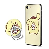 Pompom Pom Pudding, iPhone 7 Case, iPhone 8 Case, Smartphone Ring Cover, Ring, Thin, Anti-Fingerprint, Case with Ring, Popular, Drop Prevention, Phone Cover, Stand, Mobile Case, Shockproof, Thin