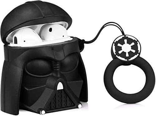 Star Wars Airpods Case Darth Vader PVC Silicone Shockproof Bluetooth Earphone Protective Cover 3D Unique Design Skin Kits with Carabiner Holder for Apple Airpods 2 & 1, (Anakin Skywalker)