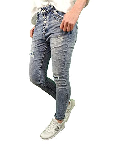 Jewelly Stretch Moonwashed Jeans| im Baggy Boyfriend Schnitt| Damen Hose mit Knopfleiste | Destroyed Vintage Look (moonwashed Blue, XL)