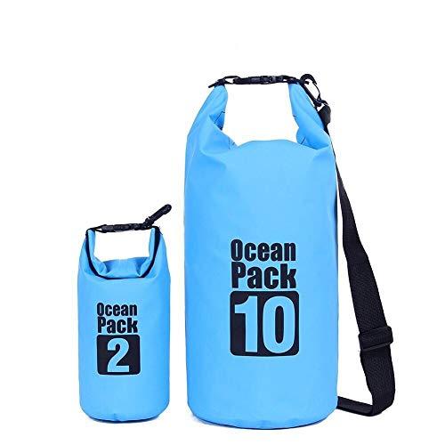 ValueHall (Pack de 2 10L / 2L léger imperméables Sacs étanches avec bandoulière réglable durables, Plus Cas téléphone étanche, bâche étanche 500D