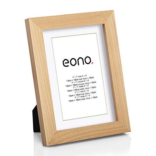 Eono by Amazon - Marco de Fotos de Madera Maciza y Cristal de Alta Definición para Pared Fotos de 10x15 cm con paspartú y de 13x18 cm sin paspartú Natural