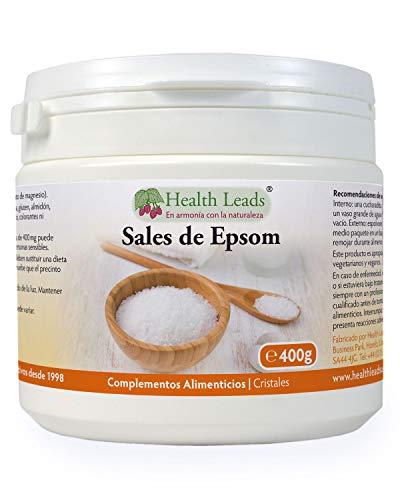 Sales de Epsom puros 400g, Calidad alimentaria, Sulfato de magnesio, Muy conocido por relajar músculos cansados y doloridos después de practicar deporte, contenedor puede volverse a cerrar