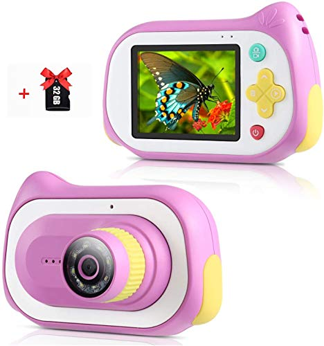 Kids Digital Camera with Microscope Function, 200X Magnifier Digital Microscope 15MP Compact Starter Camera Mini Video Player Recorder with Free 32GB TF Card Choice for Girls Boys (Pink)