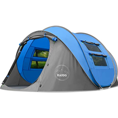 Kazoo Instant 3 Man Pop Up Tents for Camping, Outdoor Festivals, Hiking, Fishing - Blue