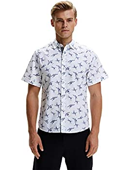 SSLR Men s Casual Button Down Shirts Regular-Fit 100% Cotton Printed Short Sleeve Shirts for Men  Large White