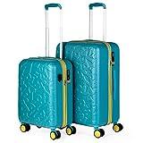 Lois - Juego de Maletas de Viaje Rígidas 2 pzs. Set Trolley 4 Ruedas Cabina y Mediana Resistentes y Robustas. Conjunto Equipaje Avión 171115, Color Aguamarina