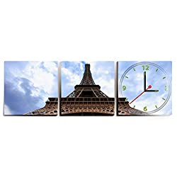 Clever Creations Eiffel Tower Wall Clock 3 Piece Wall Adhesive & Battery Powered