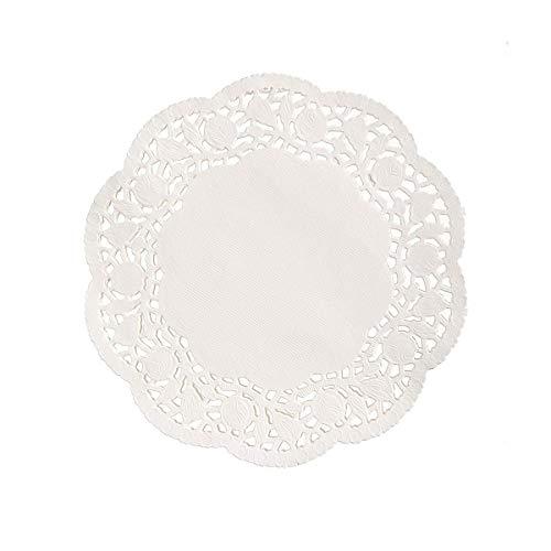 Rundes Spitzen-Papier, Spitze, rund, hohl, für Kuchen, Dessert, Geschirr, Pads, 100 Stück, weiß