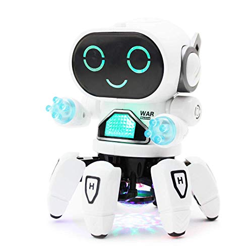 Boley Pioneer Dancing Robot in White and Blue - Walking Dancing Electronic Robot Toy for Kids with Disco Flashing Lights and Dance Music - Battery Operated