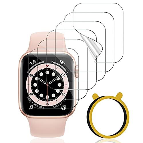 VASG [6 Stück] Schutzfolie Kompatibel mit Apple Watch Series 6/5/4/SE 40mm und Series 3/2/1 38mm Klar HD Flexible Soft TPU Folie Nicht Glas Blasenfreie Displayschutz