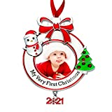 Baby's First Christmas Photo Ornament 2021 My Very First Christmas Photo Frame Xmas Baby's 1st Keepsake Picture Ornaments for Newborn Baby Hanging Christmas Tree Decoration for Holiday ()