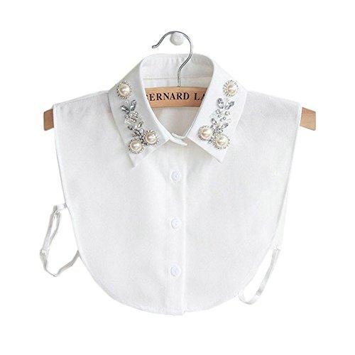 Joyci Diamond Pearl False Collar Peterpan Fake Collar Half Shirt Dickey (White)