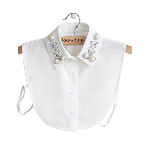 Joyci Diamond Pearl False Collar Peterpan Fake Collar Half Shirt Dickey (White)