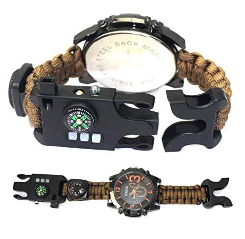 MJY Mode-Uhr, Multifunktionsnotfallüberlebens-Uhr-Regenschirm-Seil-gesponnene Uhr im Freien mit Pfeifen-Feuerstart-Kompass und Thermometer-Gang,Asphalt,EIN