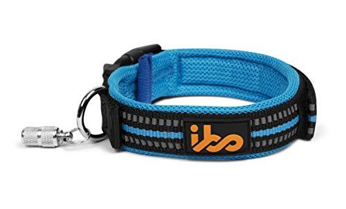 ibo Collar de Perro 3M Reflectivo para Mascota Ajustable Visible Bono Capsula con Etiqueta de Identificación (Chico, Azul)