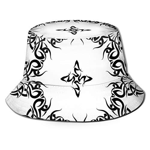 Fisherman Senderismo Sombrero De Ala Ancha Cas,Estilo Étnico Tatuaje Circular Arte Vector Hojas Como Marco Impresión Moderna