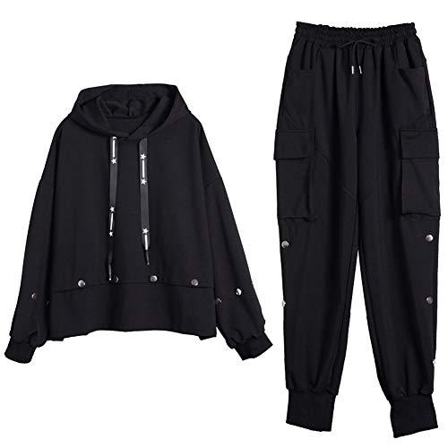Jamron Damen Große Größen 2 Stück Mode Hoodie Sweatshirt Top + Cargohose Sportswear Streetwear Schwarz 4XL