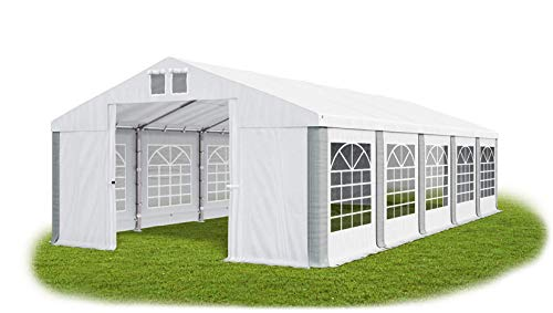 Das Company Partyzelt 5x10m wasserdicht weiß-grau Zelt 560g/m² PVC Plane Hochwertigeszelt Gartenzelt Summer SD